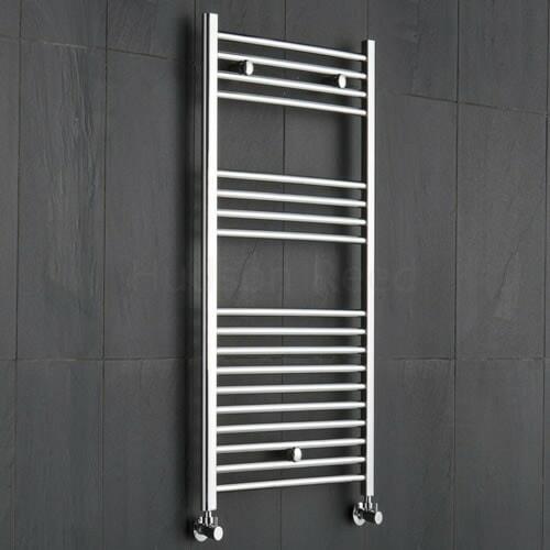 Vertical chrome hyrdronic towel warmer