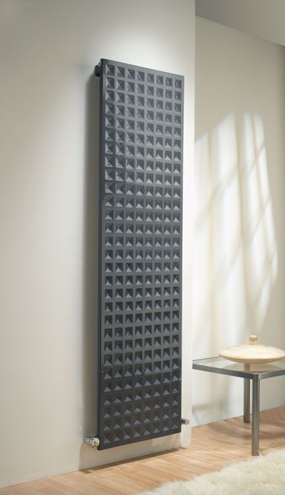 vertical hot water radiator with indented squares