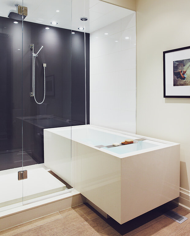 modern bathtub and shower enclosure