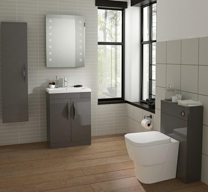 clean bathroom gloss gray unit