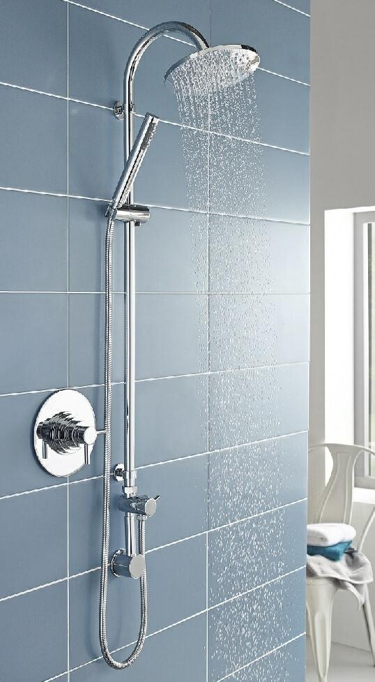 chrome rainfall shower head and hand shower