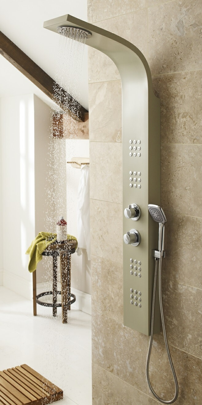 beige modern shower panel with chrome hand shower