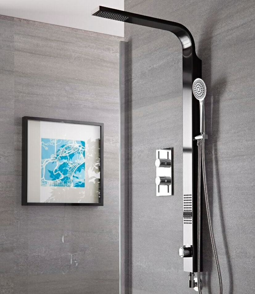 black shower panel with chrome hand shower