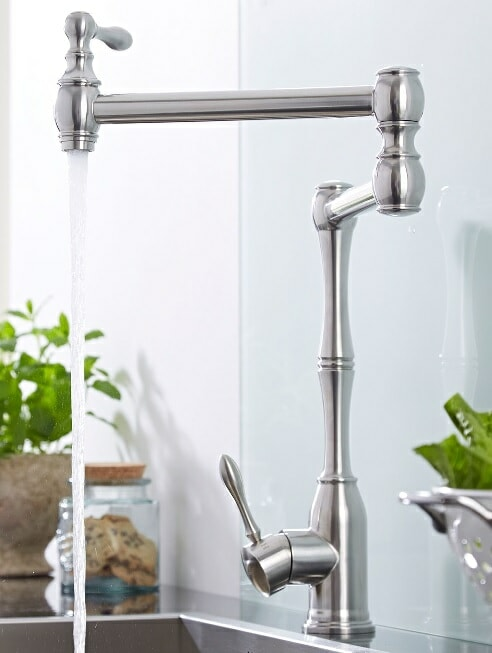long stainless steel kitchen faucet