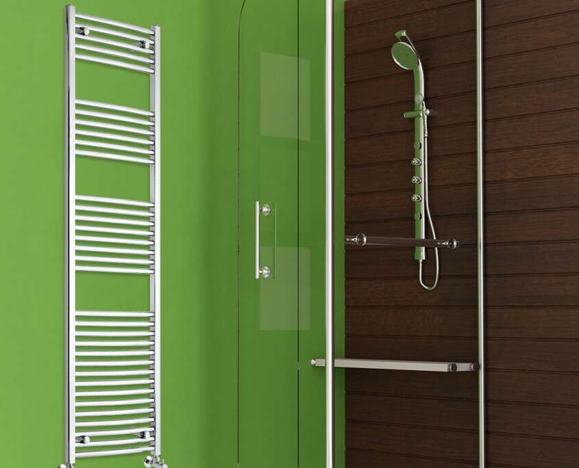 heated towel warmer by shower enclosure