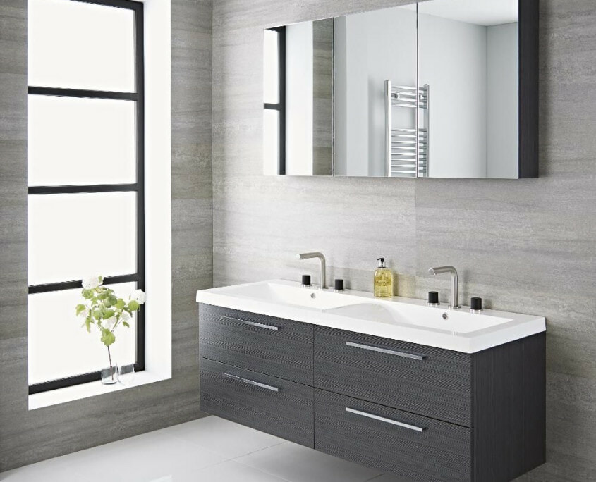 gray double vanity unit