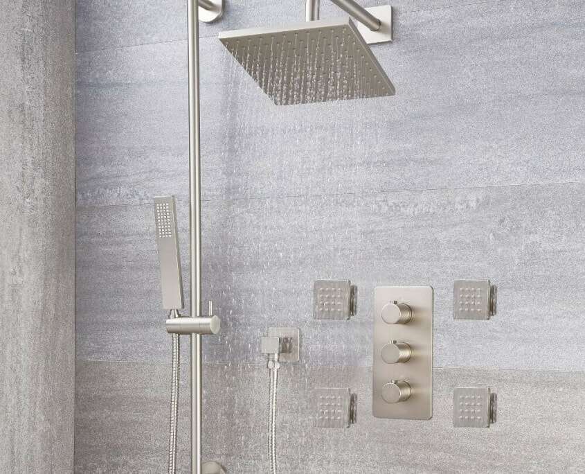 arcadia thermostatic brushed nickel shower with slide rail