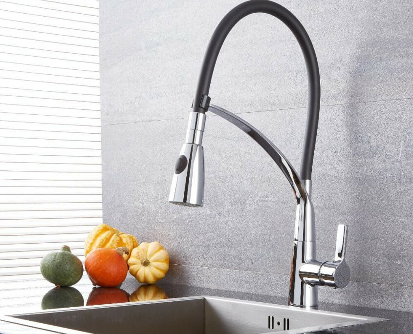 black and chrome pull down kitchen faucet