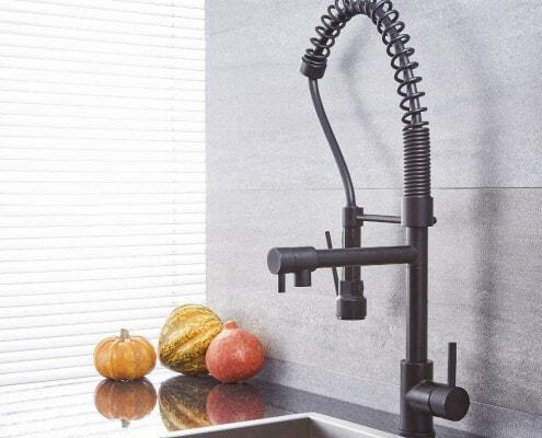 quest black kitchen faucet with spring spout & pot filler