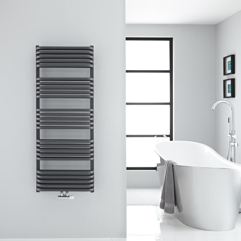arch anthracite hydronic towel warmer