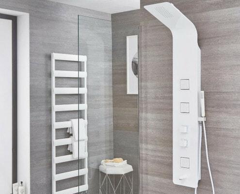 upton white aluminum shower panel