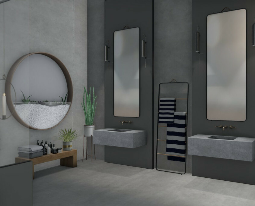 grey modern bathroom area