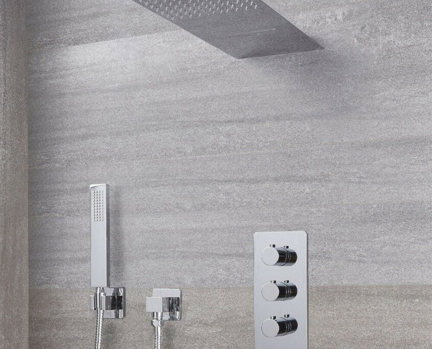 arcadia thermostatic shower system with waterfall head