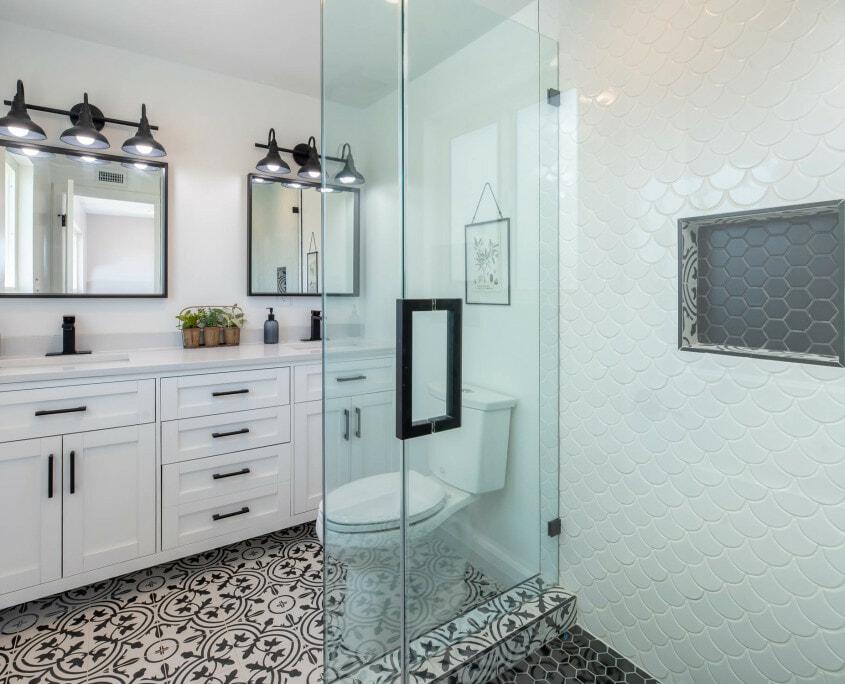 white storage bathroom