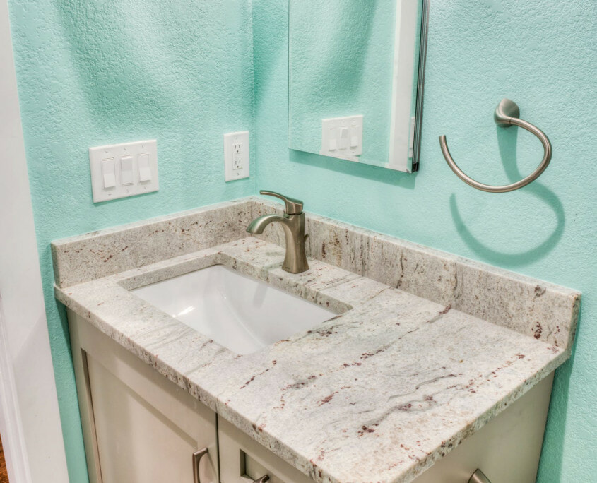 small green bathroom vanity unit