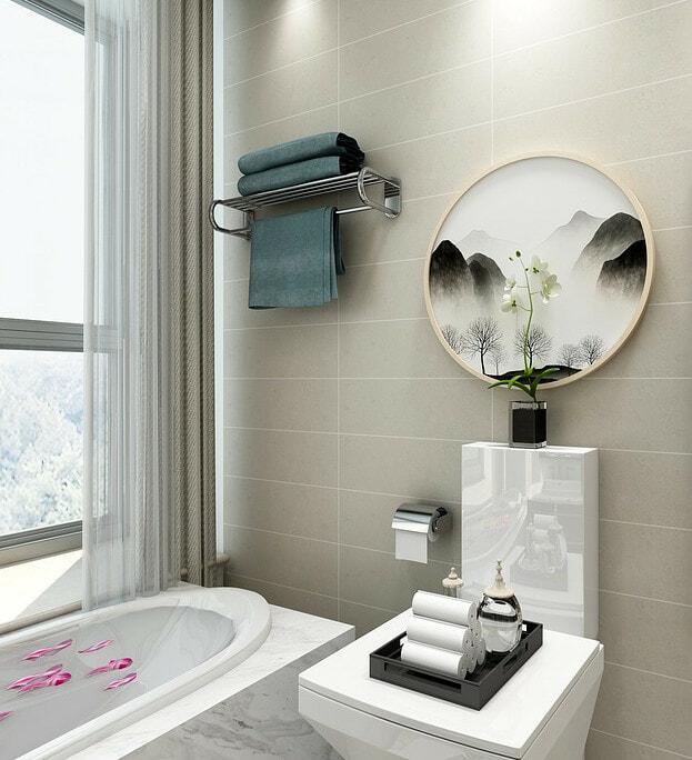 small bathroom with artwork