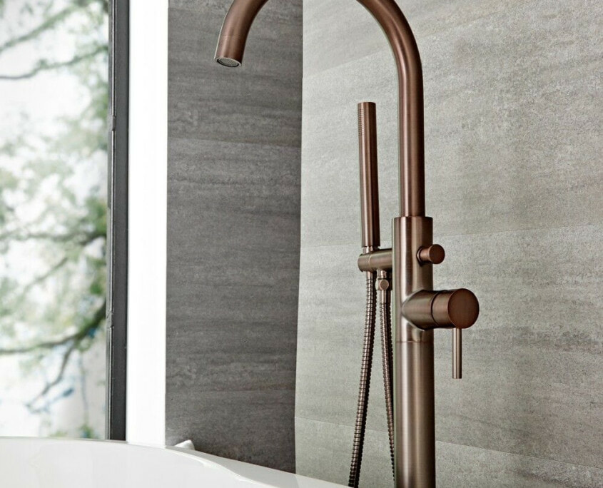 quest bronze freestanding tub faucet with handshower