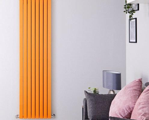 sloane light orange double flat panel vertical radiator