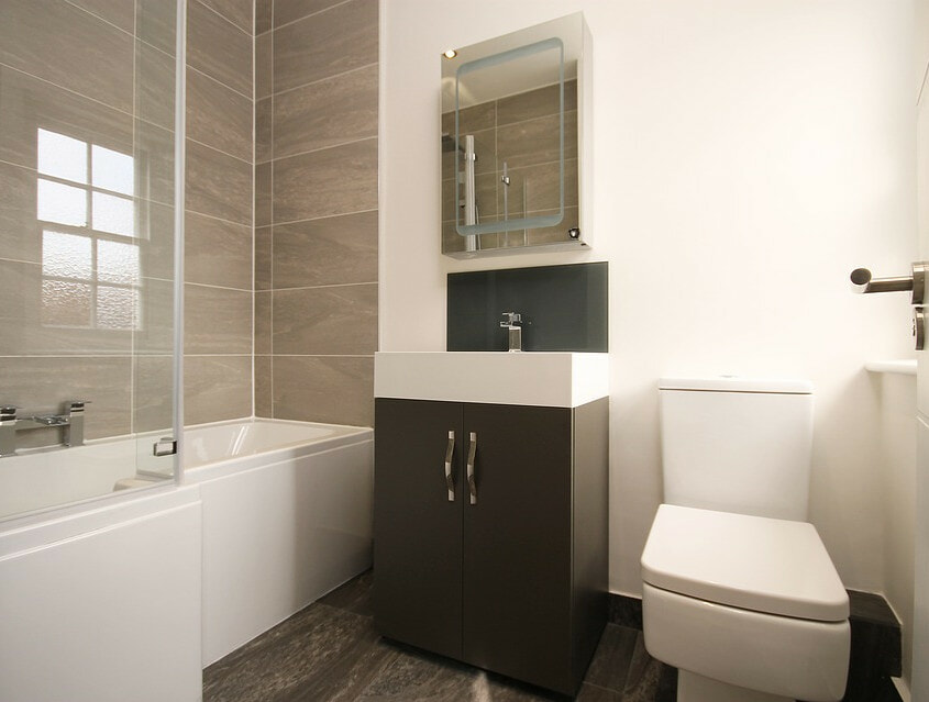compact bathroom large wall tiles