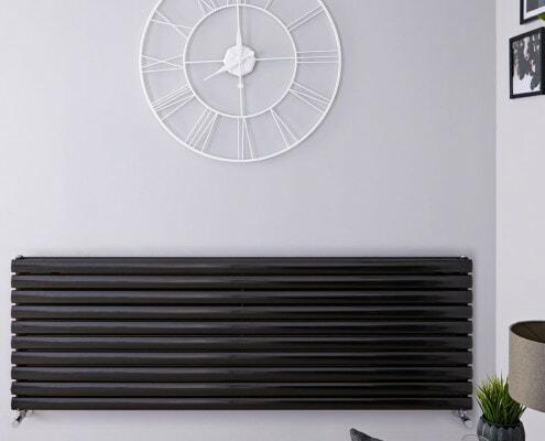 revive black horizontal double panel radiator