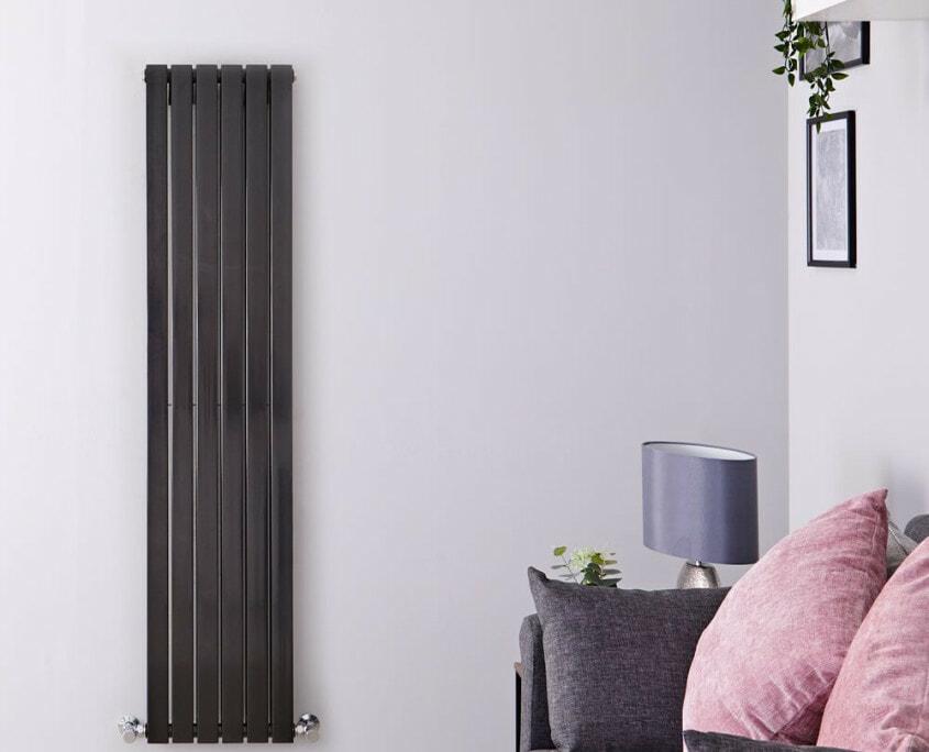sloane black vertical double flat panel radiator