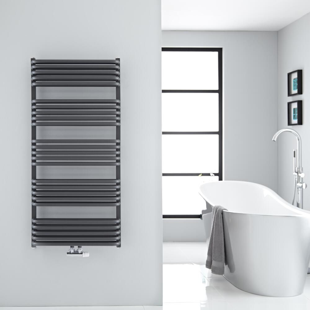arch anthracite heated towel warmer